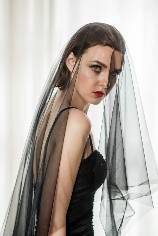 Black Tulle Cathedral Plain Veil