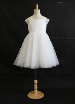 A-Line/Princess Tea-length Flower Girl Dress - Soft lace cap sleeves