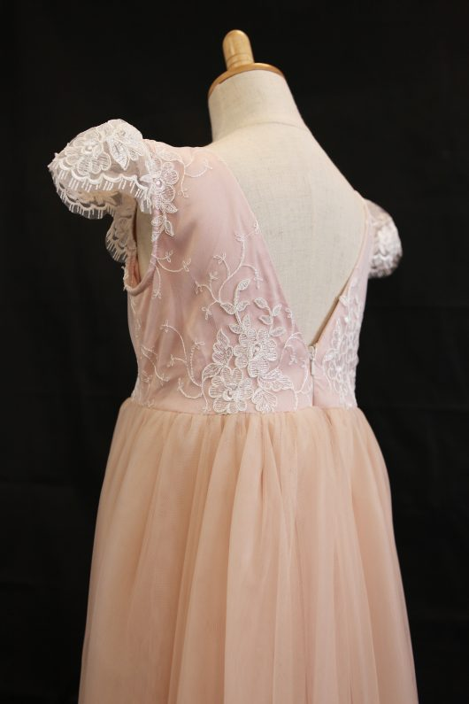 Pink A-Line Floor Length Flower Girl Dress-Lace/Tulle