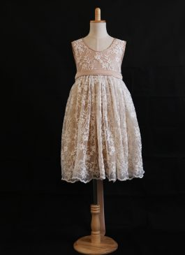 A-Line Tea-length Flower Girl Dress - Silk/Lace Sleeveless Round Neck
