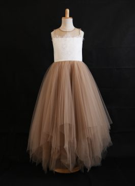 A-Line/Princess Raffle Skirt Floor-length Flower Girl Dress - Lace/Tulle