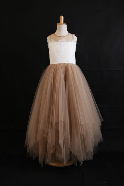 A-Line/Princess Raffle Skirt Floor-length Flower Girl Dress - Lace/Tulle -SOLD OUT