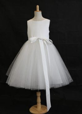 Ball Gown Tea-length Flower Girl Dress - Tulle Sleeveless Scoop Neck With Sash