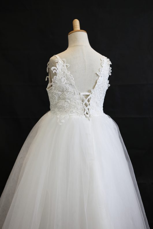 Ball Gown Ankle-length Flower Girl Dress - Tulle/Lace Spaghetti Straps