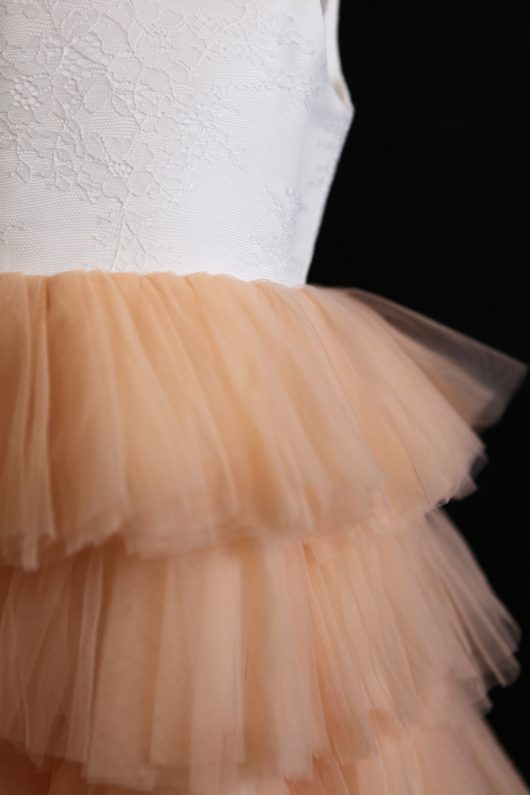 Ball Gown Floor-length Flower Girl Dress -  Layers Nude Ruffles Skirts