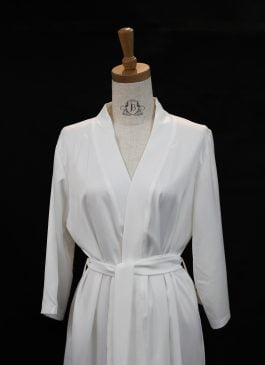PLAIN SILK ROBE FOR BRIDE - WHITE
