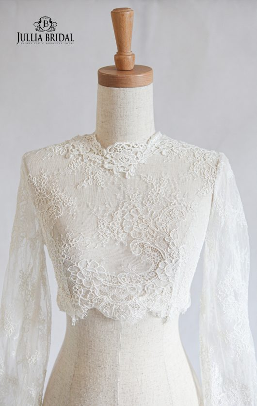 High Neck Floral Lace Long Sleeves Boleros