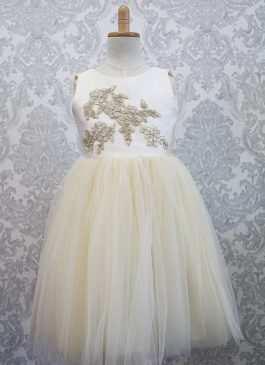 Princess Tea-length Flower Girl Dress – Lace and Pearls