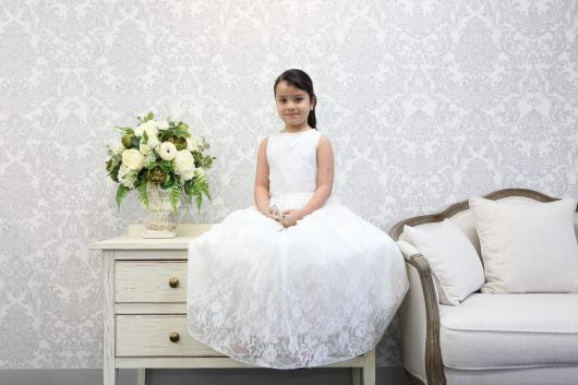 Aline Full-length Flower Girl Dress – Lace and Pearls
