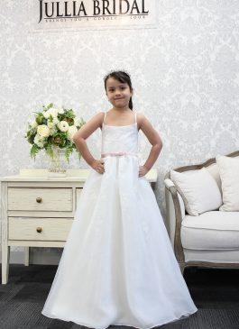 Aline Full-length Flower Girl Dress – Lace and Satin - ONLY 1 LEFT