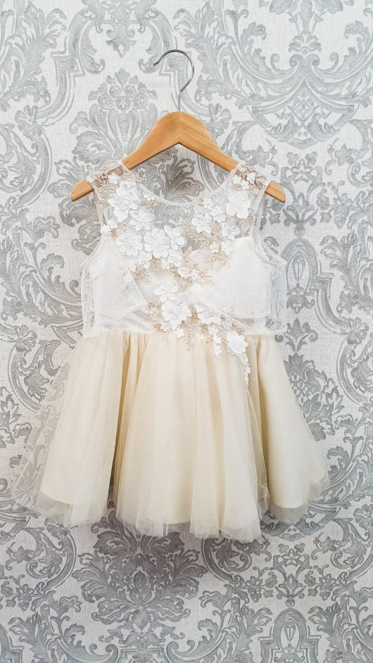 A-Line/Princess Knee-length Flower Girl Dress – 3D Flowers