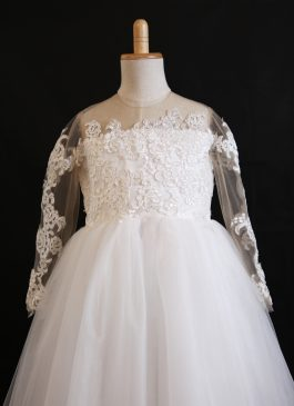Princess Long Sleeve Full-length Flower Girl Dress – Lace and Tulle