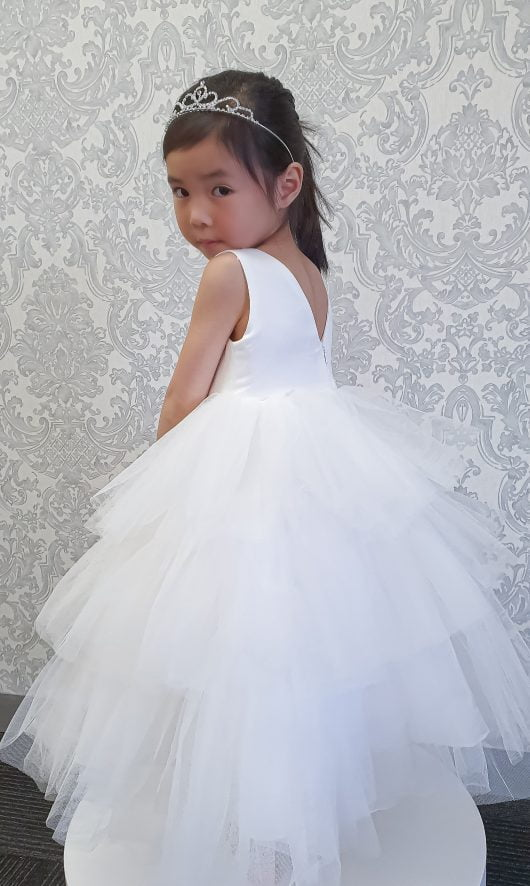 Ball Gown Floor-length Flower Girl Dress – 3 Layers Ruffles Skirts