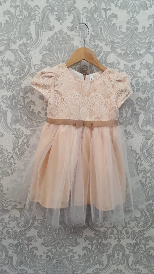 Champaign  A-Line Tea-length Flower Girl Dress – Cap sleeves