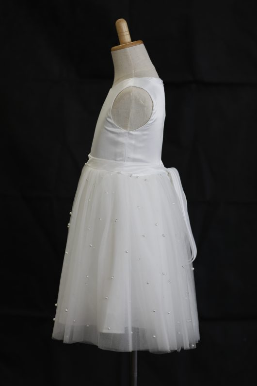 Amelia Ball Gown Tea-length Flower Girl Dress - Tulle Sleeveless Scoop Neck With Sash and Pearls Skirt