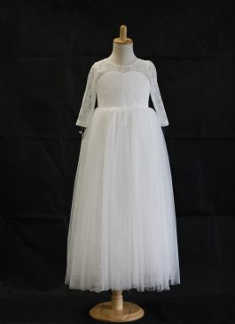 Katie Column Full-length Flower Girl Dress - lace and tulle