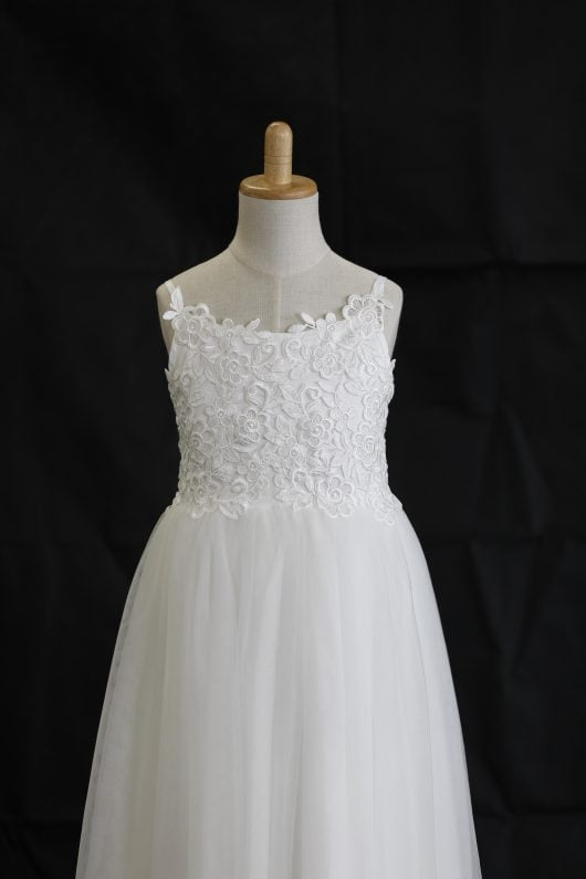 Olivia Ball Gown Ankle-length Flower Girl Dress - Tulle/Lace Spaghetti Straps