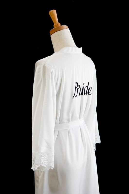 SILK ROBE FOR BRIDE LACE - CLEARANCE