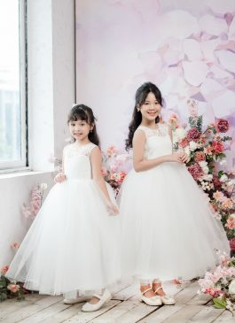 Ava Ball Gown Full-length Flower Girl Dress - Lace and Tulle