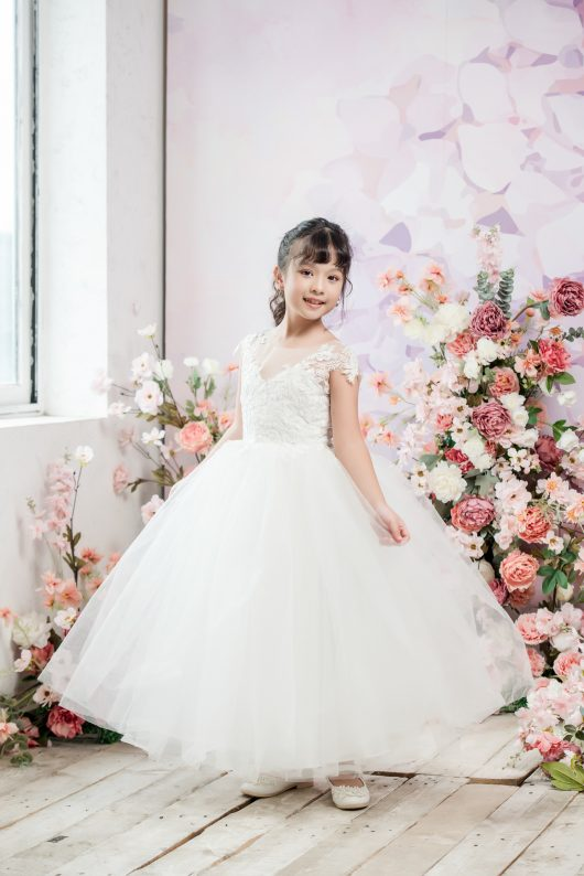 Holly Ball Gown Full-length Flower Girl Dress - Lace and Tulle