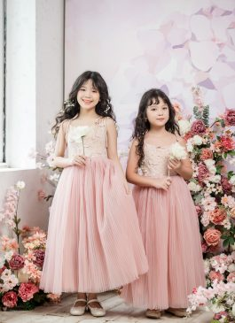 Tulip Ball Gown Full-length Flower Girl Dress - Lace and Tulle
